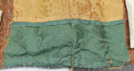 Green damask patch seamed to yellow patch from Spangled bed ©National Trust/Textile Conservation Studio