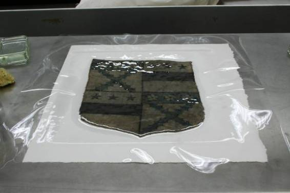 Gideon drying shield ©National Trust/Textile Conservation Studio