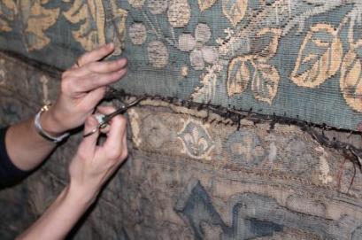 Taking Gideon down ©National Trust/Textile Conservation Studio