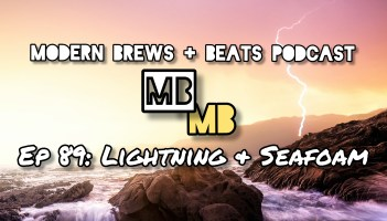Illustration of lightning over a large body of water and rocks as the cover for Modern Brews + Beats 89: Lightning & Seafoam