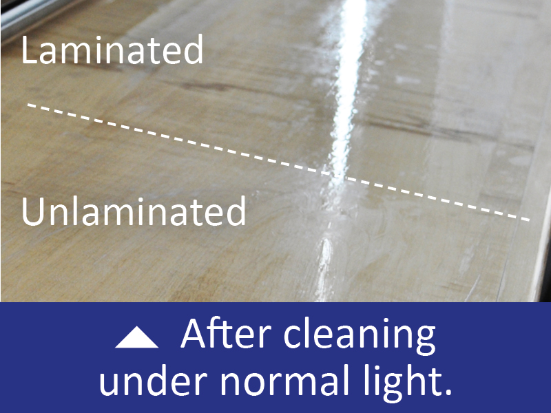 View the effectiveness of the easy clean laminate under UV light which shows up any bacteria on the surface and see the comparison between surfaces before cleaning and after cleaning on a table top with and without the T36-P-P laminate.