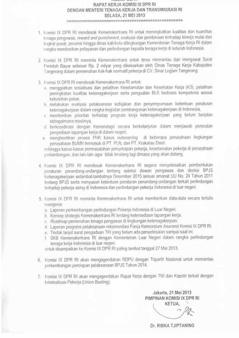 Hasil Kesimpulan Rapat Menteri Tenaga Kerja Dan Transmigrasi dengan Komisi IX DPR RI 21 Mei 2013