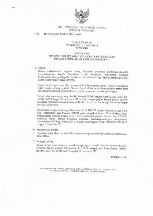 surat edaran menteri bumn tentang outsourcing nuansa