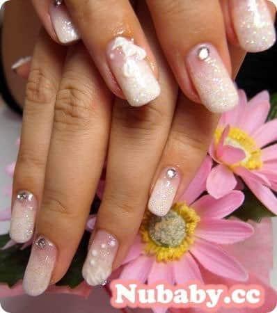 美甲作品-新娘法式與婚紗香檳紅凝膠指甲