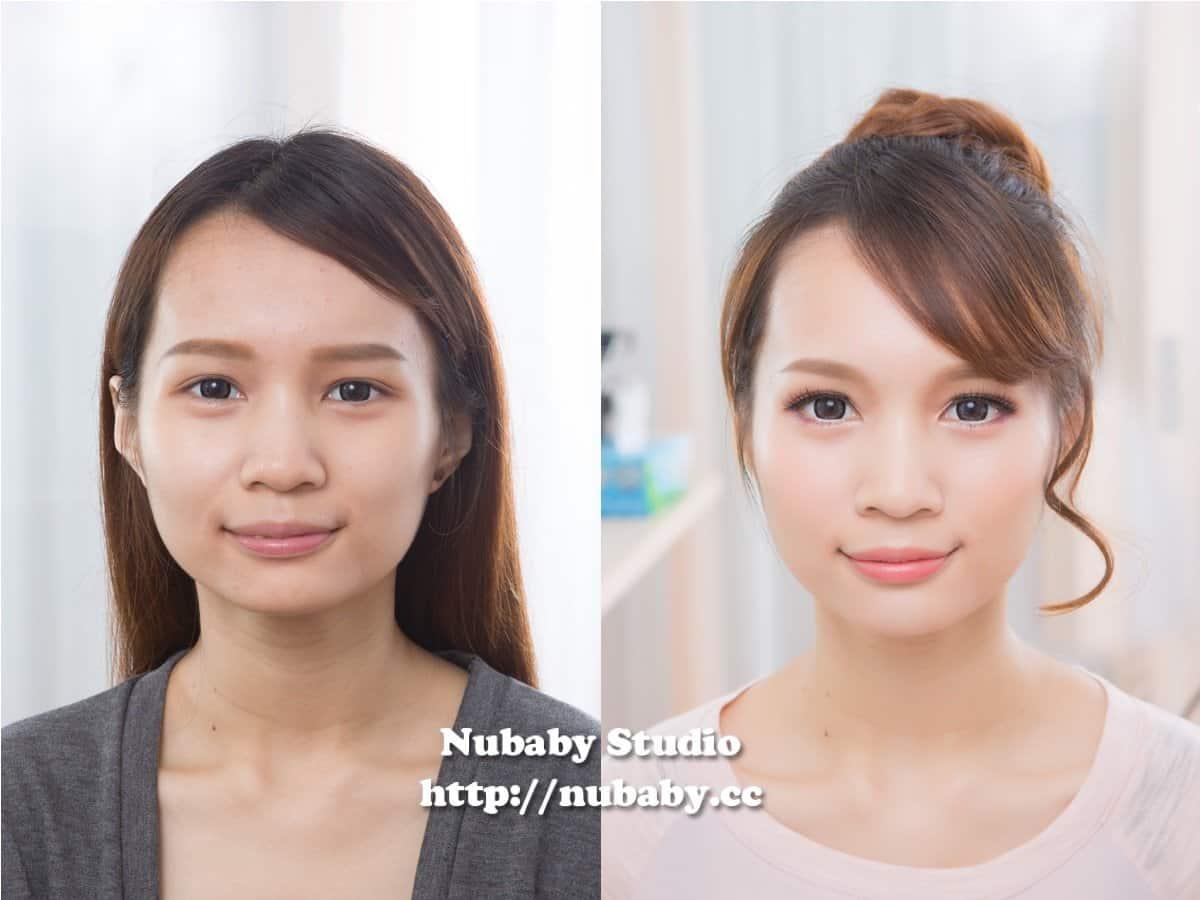 粉紅日系丸子頭妝-雅雅的素人大變身