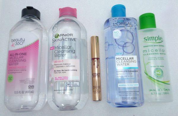 Micellar Waters (CVS, Garnier, L'Oreal, Simple Skincare)