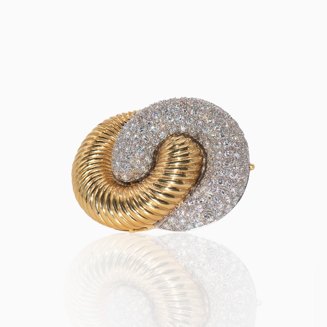 Broche Oro Blanco y Oro Amarillo con Diamantes