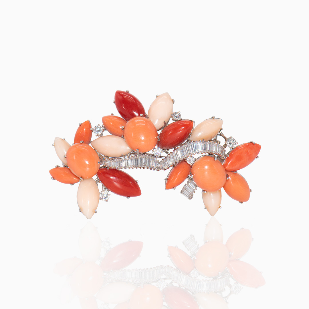 Broche Oro Blanco Coral y Diamantes