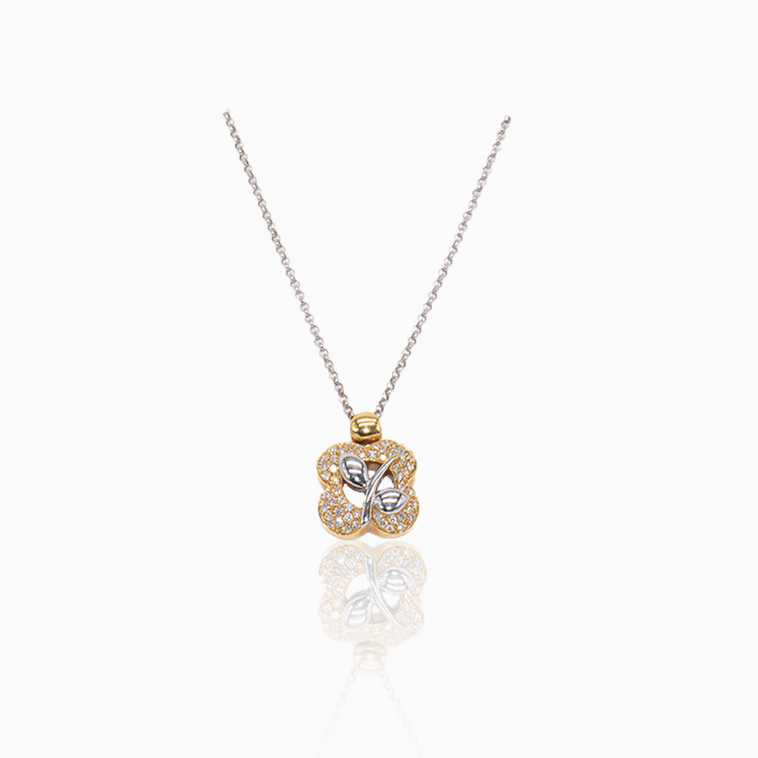 Cadena de Oro y Oro Blanco y Diamantes