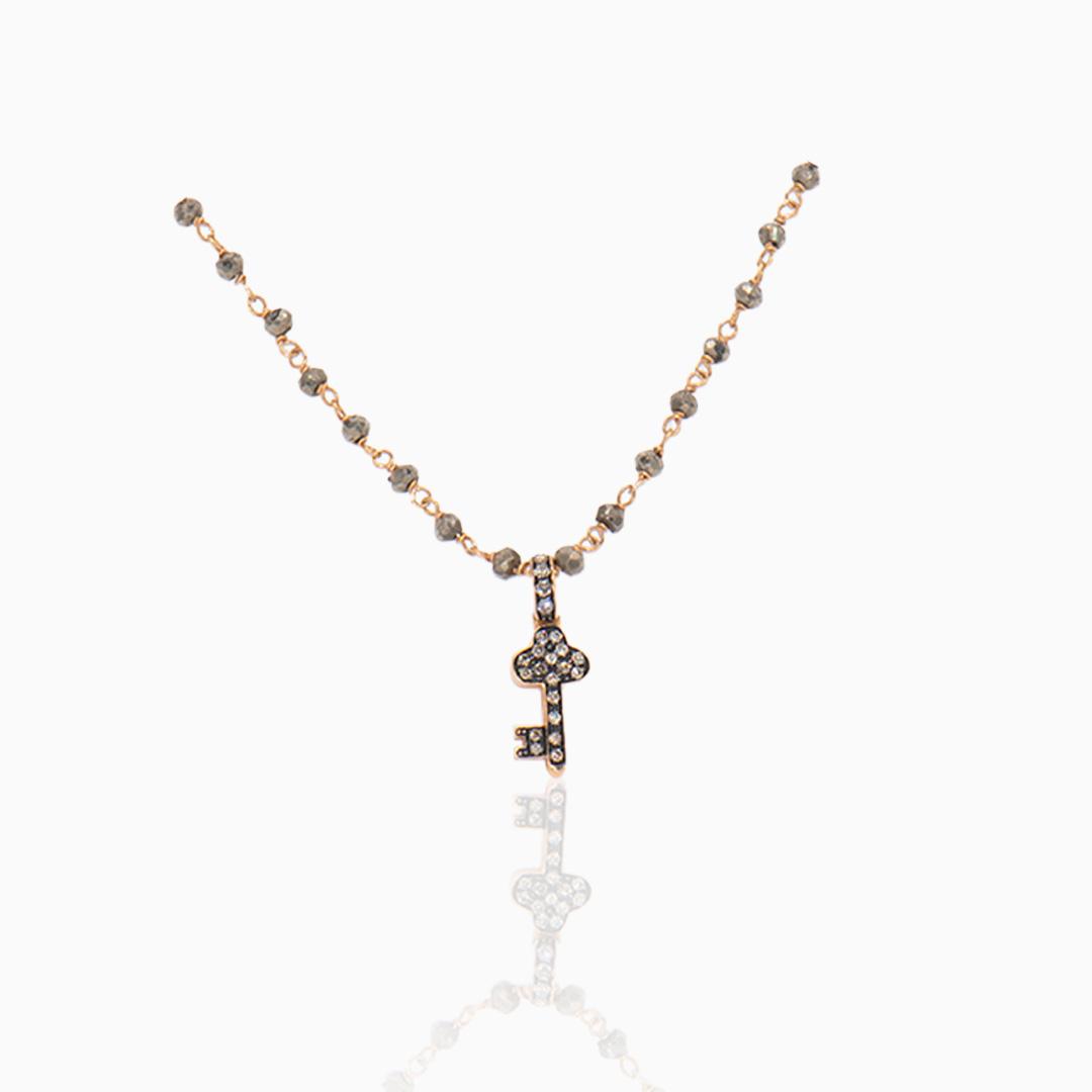 Gargantilla y Colgante Oro Rosa con Pirita y Diamantes