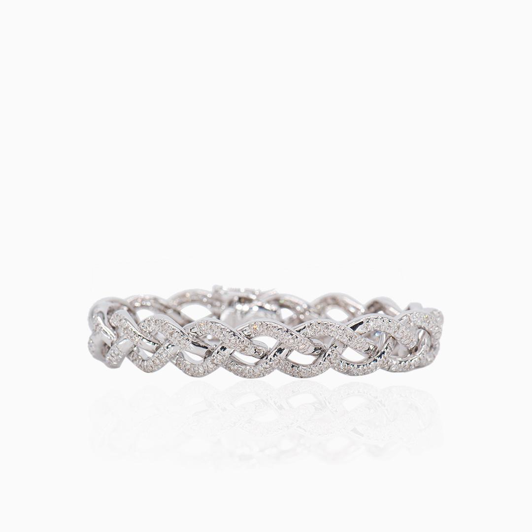 Pulsera Oro Blanco Diamantes Entrelazada