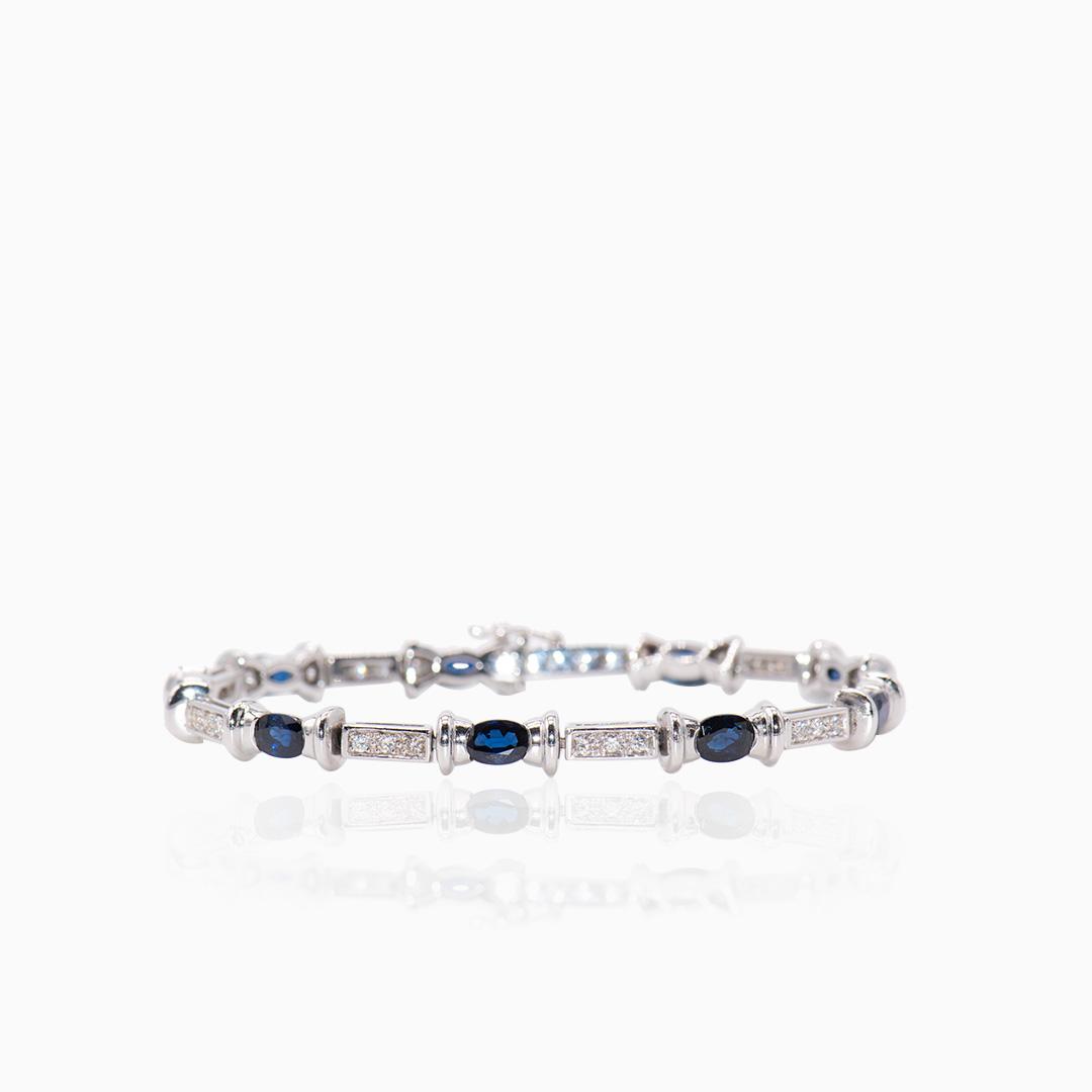 Pulsera Oro Blanco Diamantes y Zafiros
