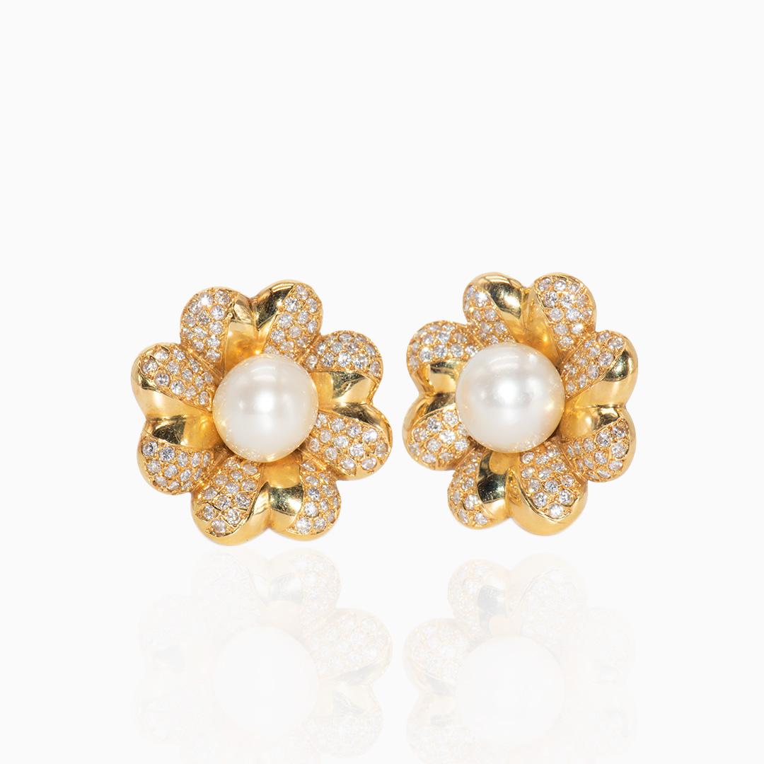 Pendientes de Oro Perla Australiana y Diamantes
