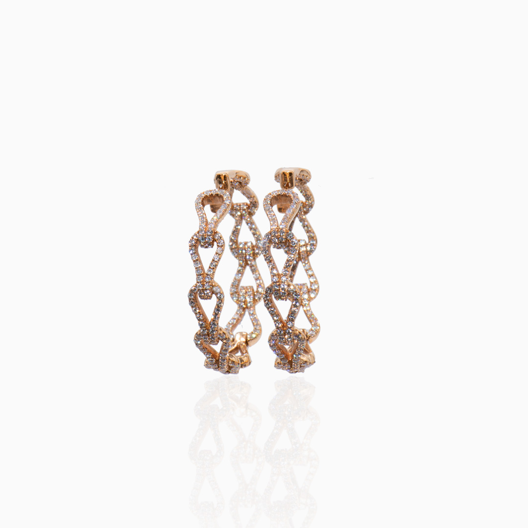 Aros Oro Rosa y Diamantes