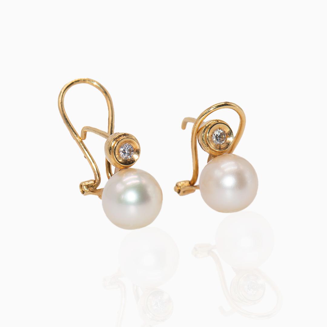 Pendientes Oro Perla Japonesa y Diamantes