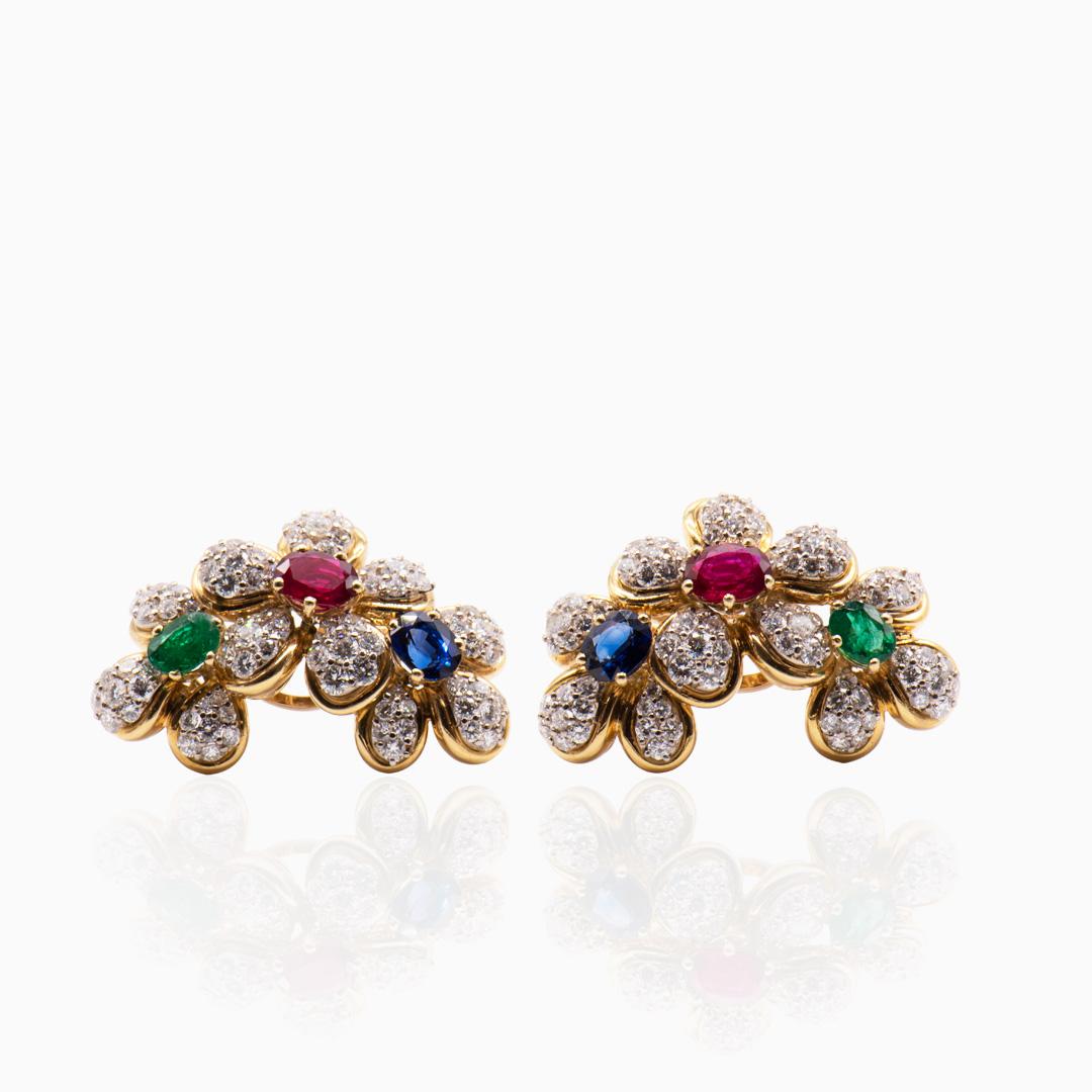 Pendientes de Oro Rubíes, Zafiros, Esmeraldas y Diamantes