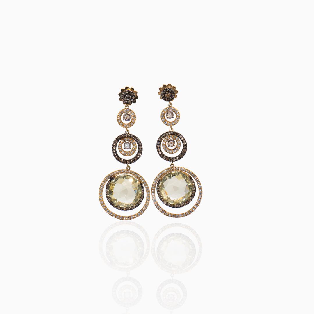 Pendientes Oro Amarillo Diamantes y Cuarzo