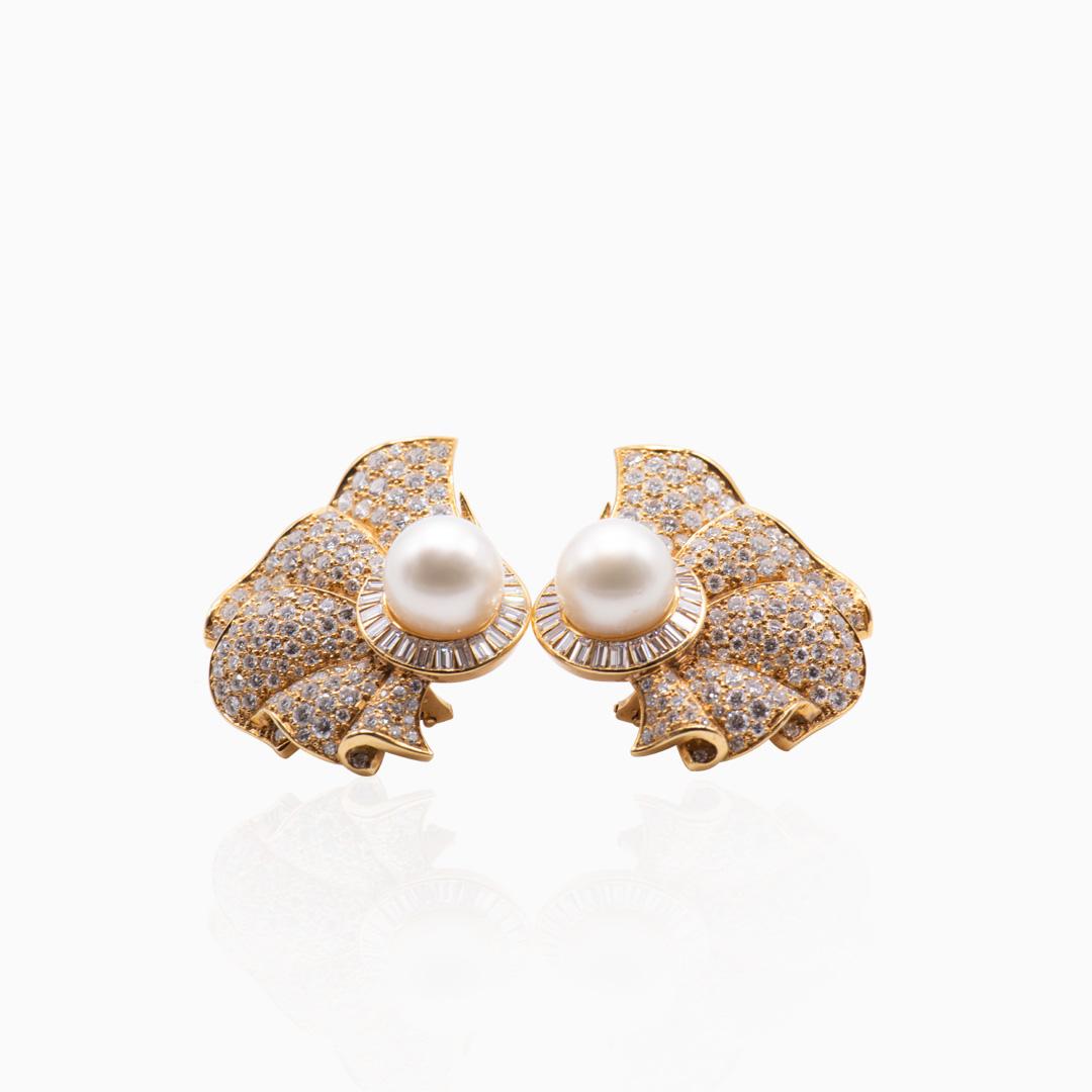 Pendientes Oro Perla Australiana y Diamantes