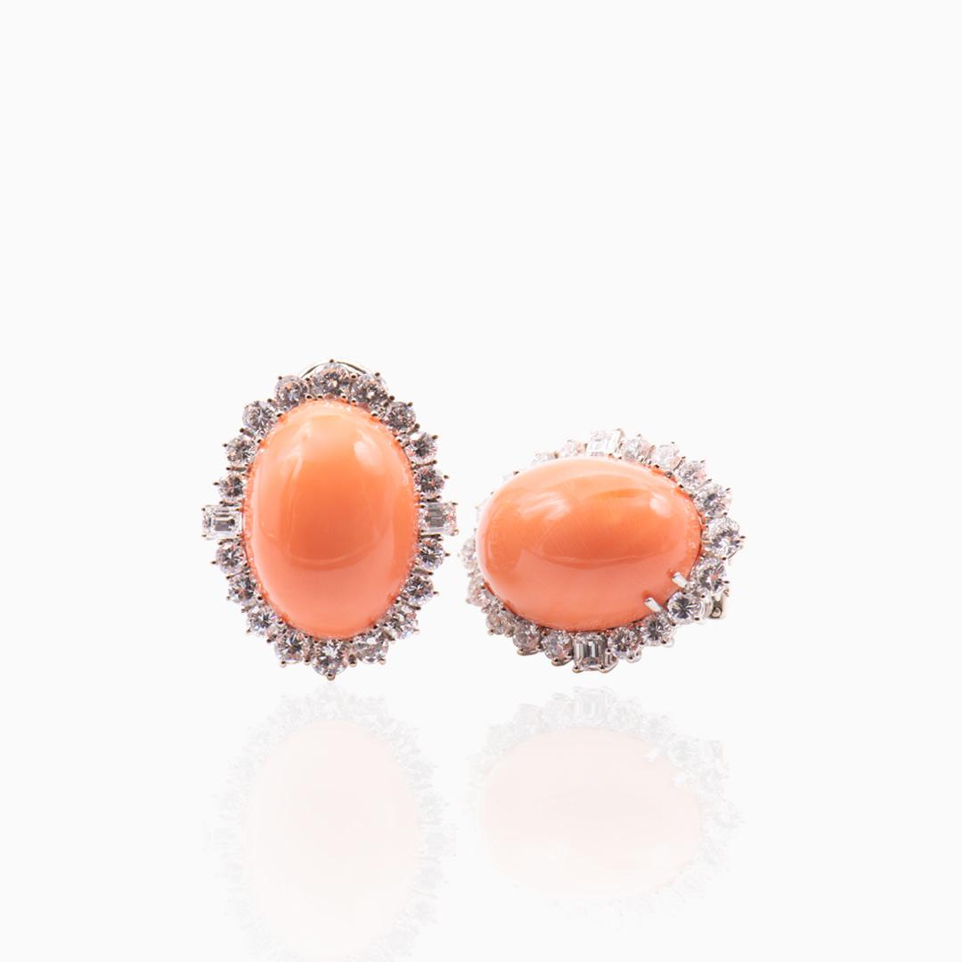 Pendientes Oro Blanco Coral y Diamantes