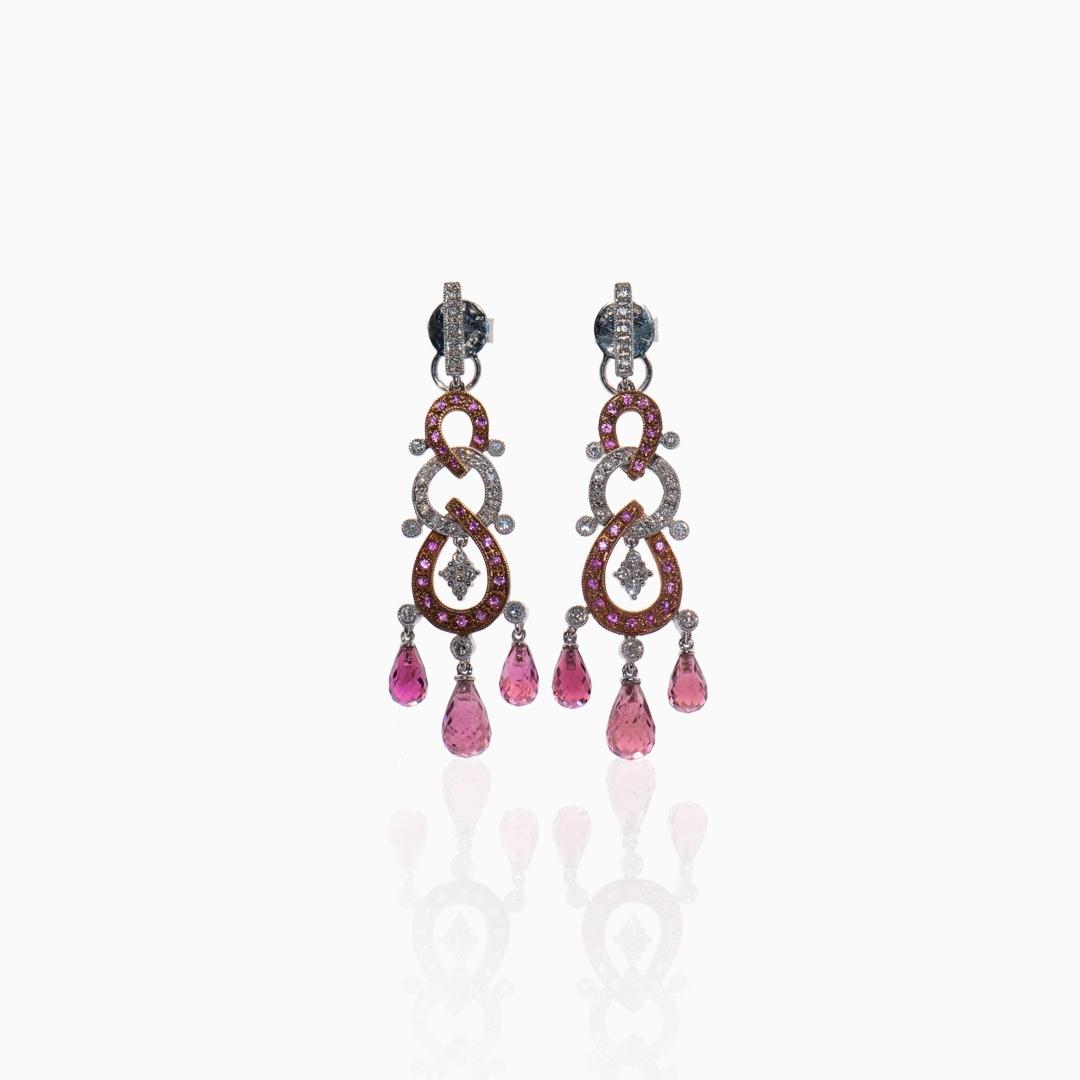 Pendientes Oro Blanco Oro Rosa Diamantes Zafiros y Amatistas