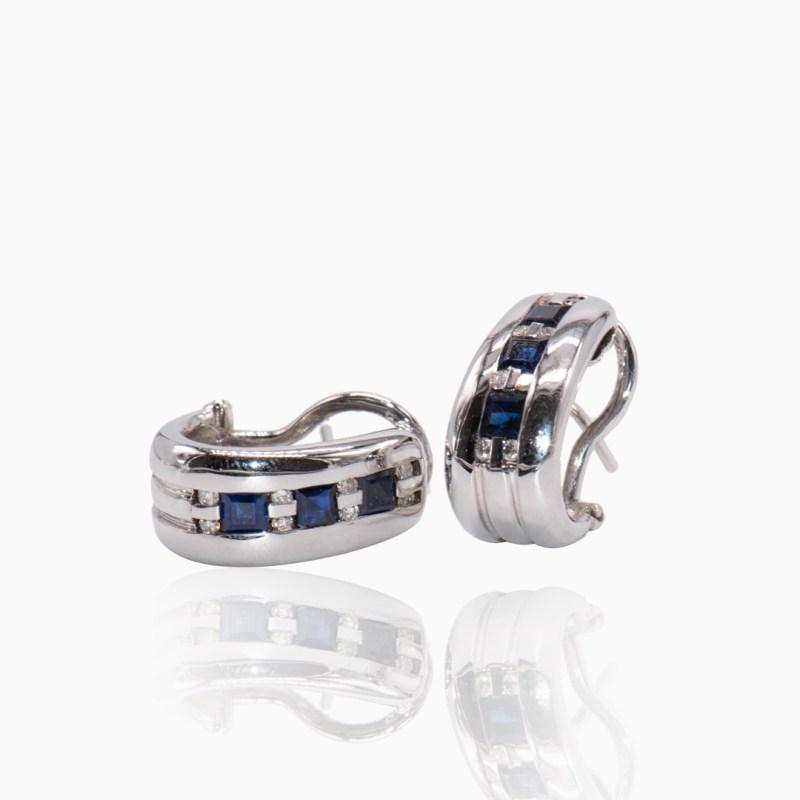 Pendientes Oro Blanco Zafiros y Diamantes