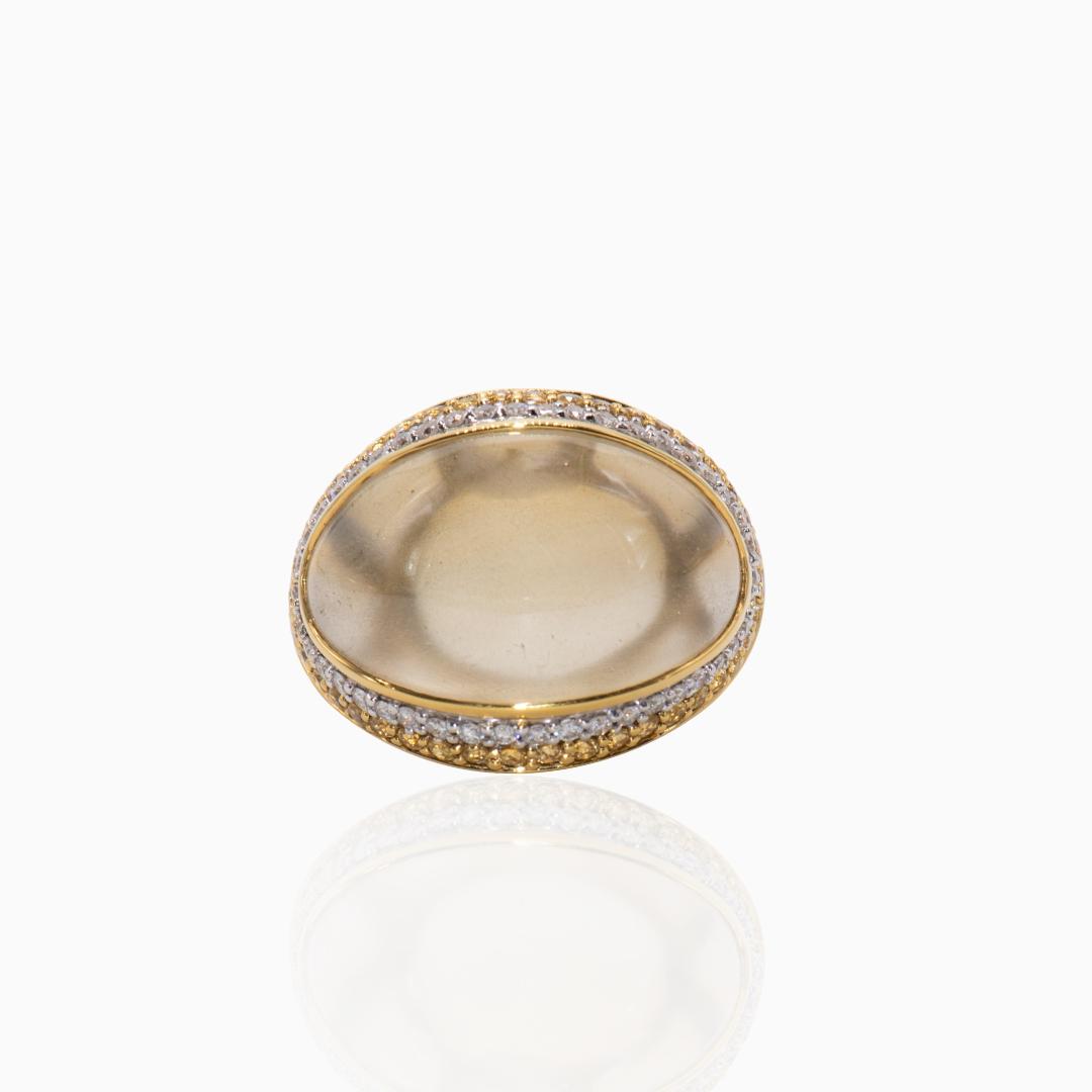 Anillo de Oro con Cuarzo Limón Zafiros y Diamantes