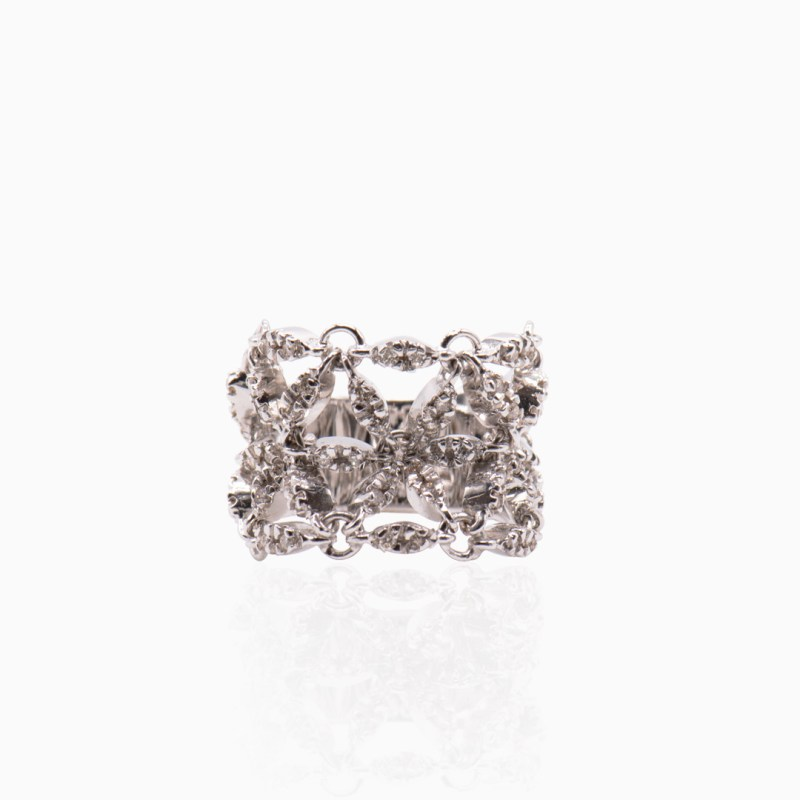 Anillo Oro Blanco y Diamantes en Flores Movibles