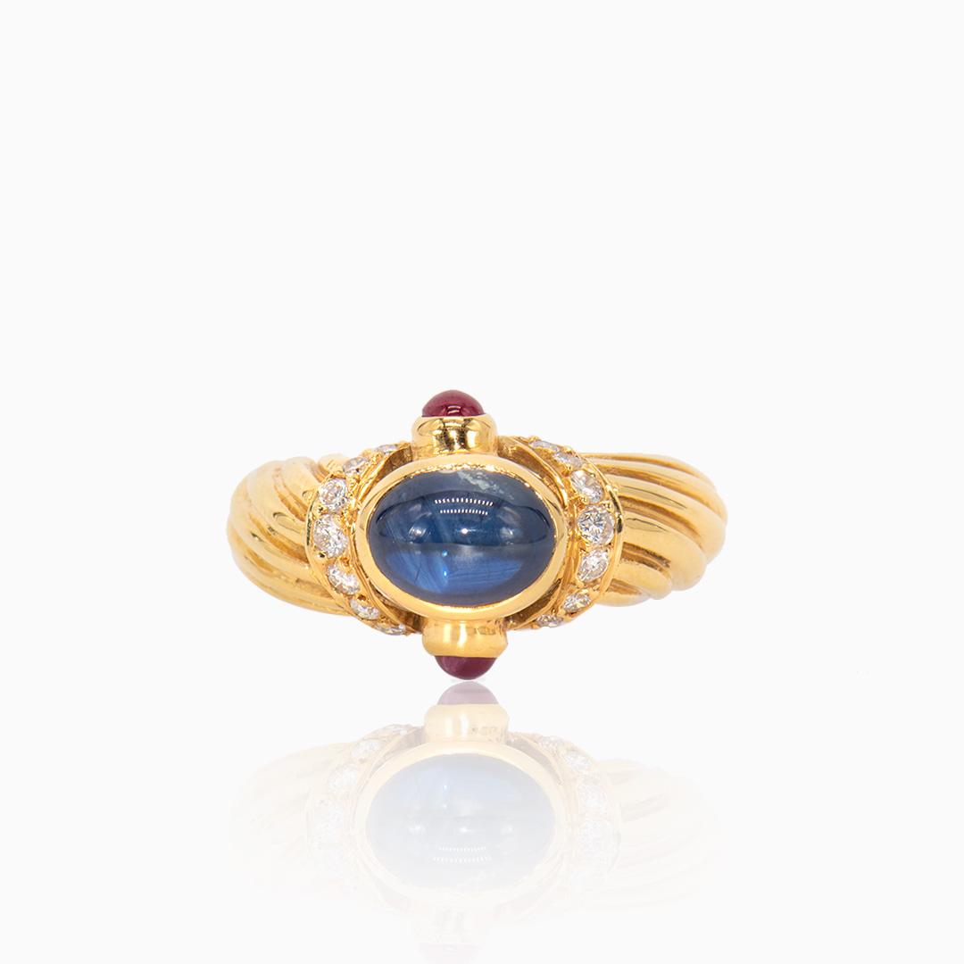 Anillo de Oro Zafiro, Rubís y Diamantes