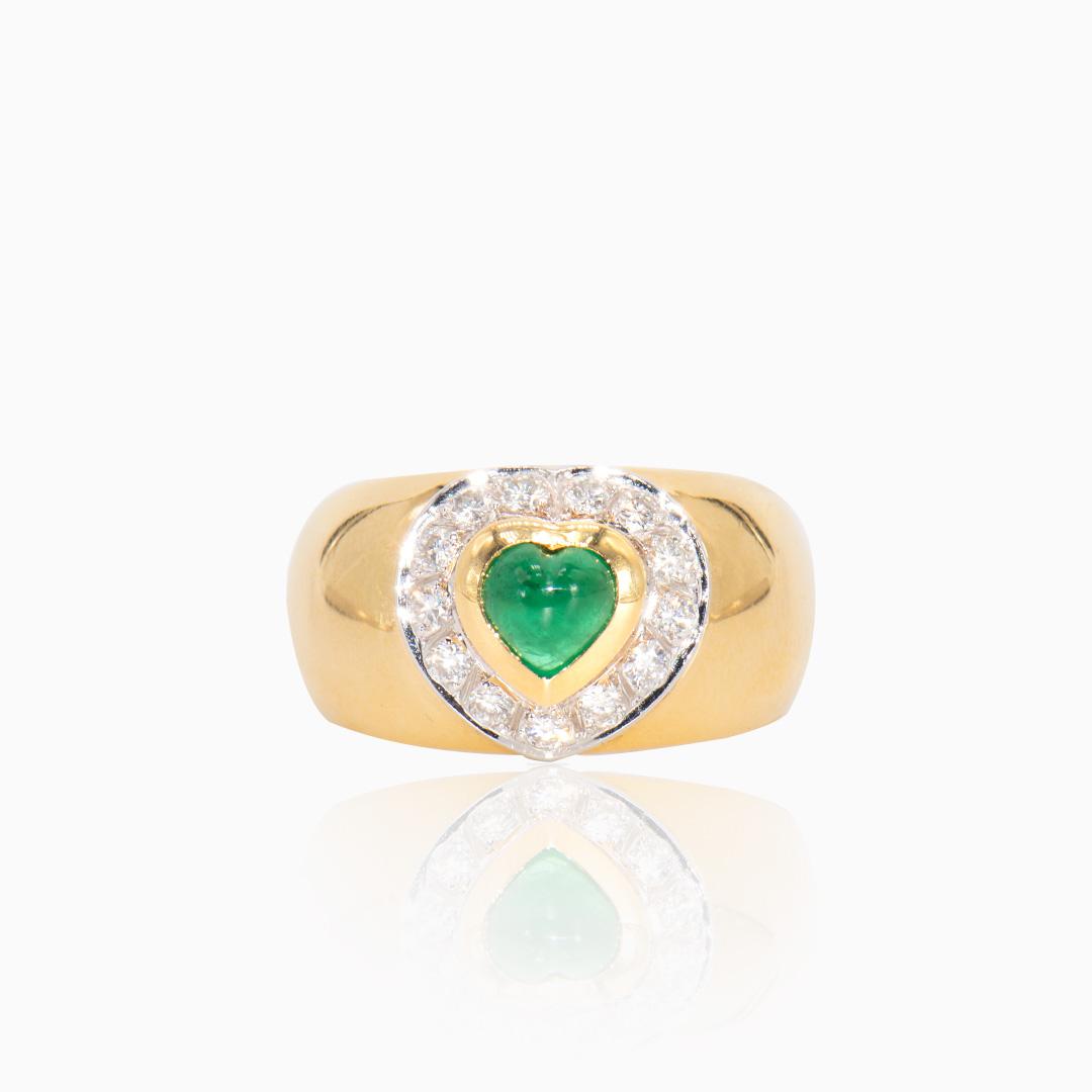 Anillo de Oro y Oro Blanco con Esmeralda y Diamantes