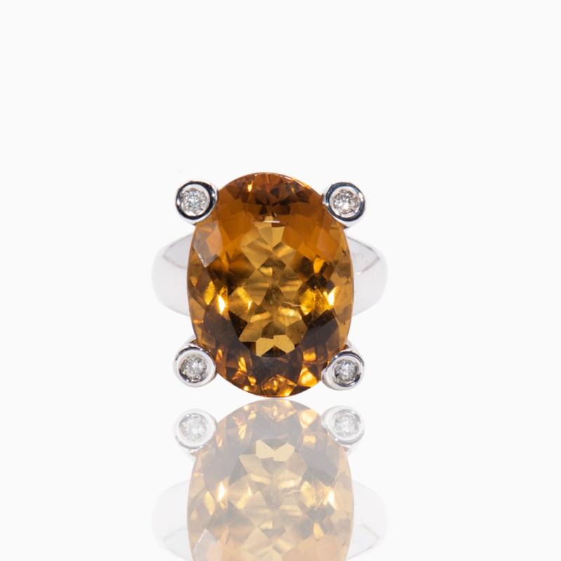 Anillo Oro Blanco Citrino y Diamantes