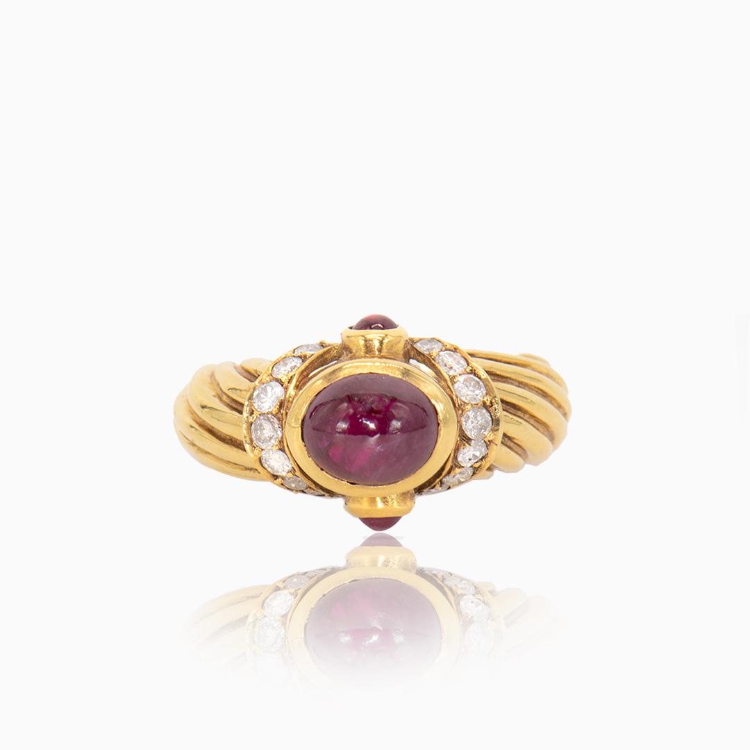Anillo de Oro con Rubíes y Diamantes