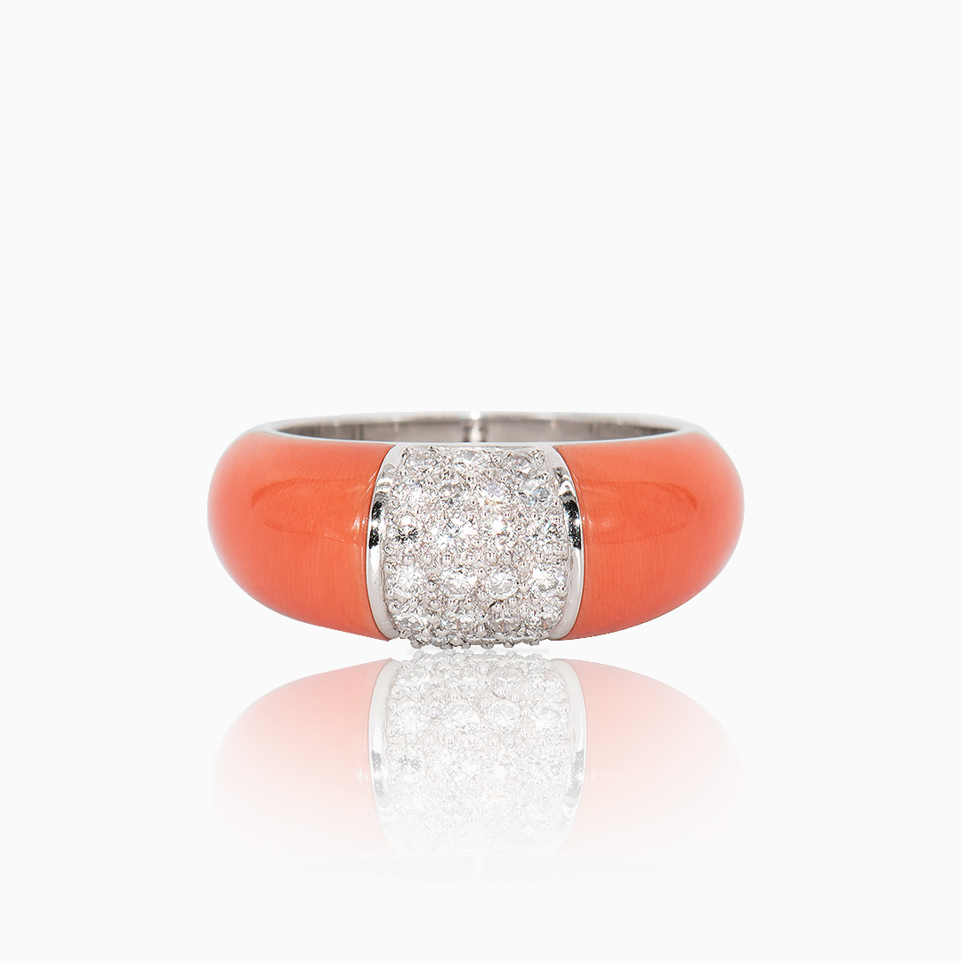 Anillo Oro Blanco Coral y Diamantes