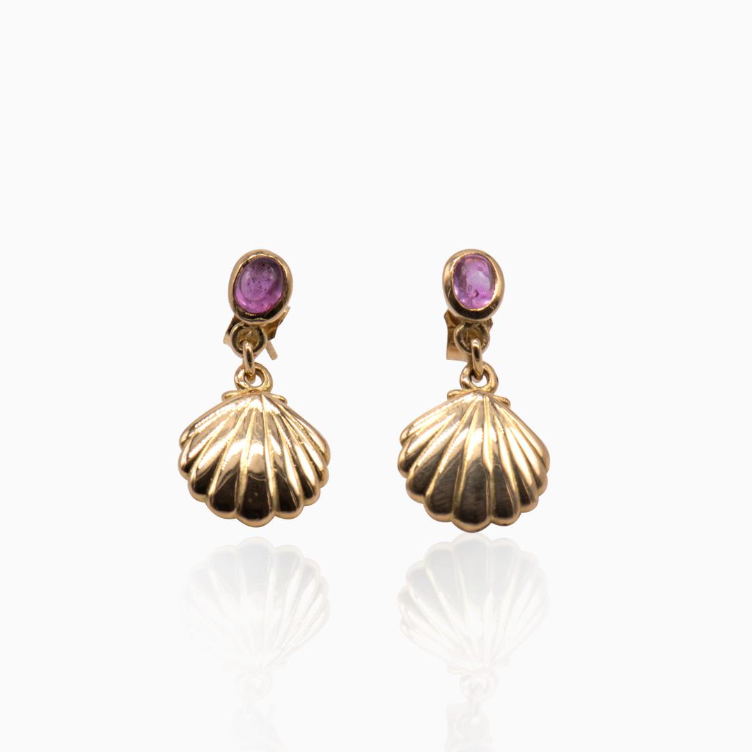 Pendientes de Oro Concha y Zafiro Rosa