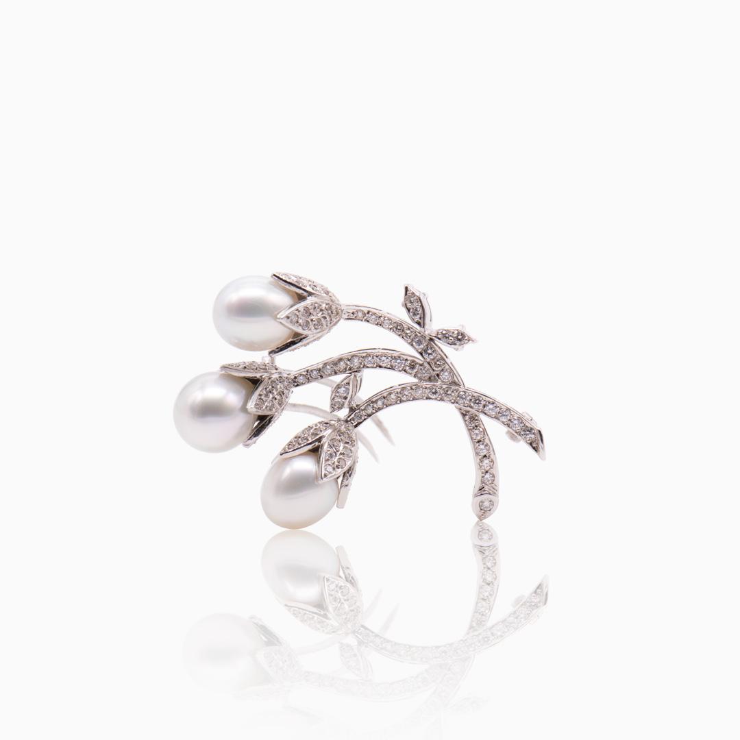 Broche Oro Blanco Perlas Australianas y Diamantes