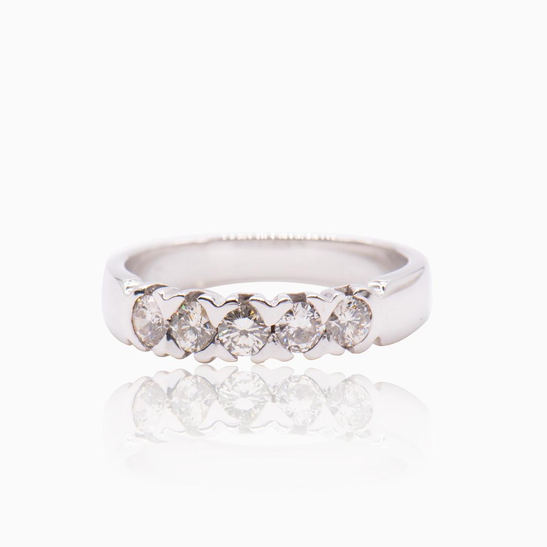 Cinquillo Oro Blanco y Diamantes