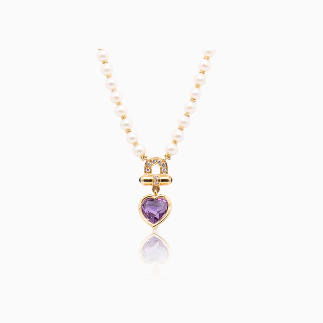 Collar Perlas Oro Amatista y Diamantes