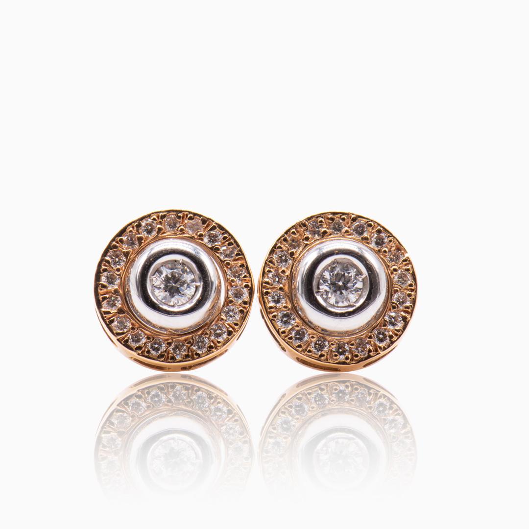 Pendientes de Oro y Oro Blanco con Diamantes en chatón desmontable