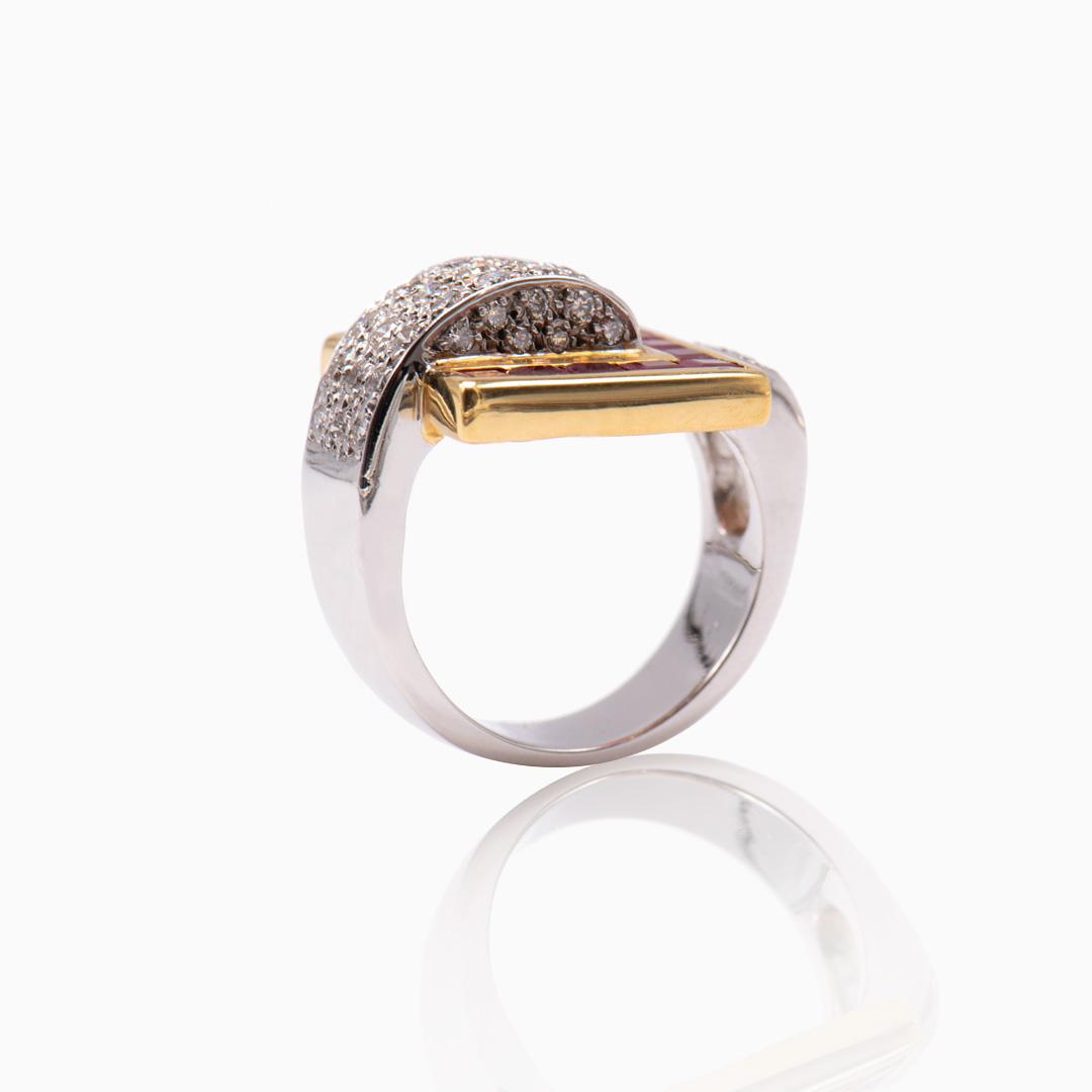 Anillo Oro y Oro Blanco Diamantes y Rubíes