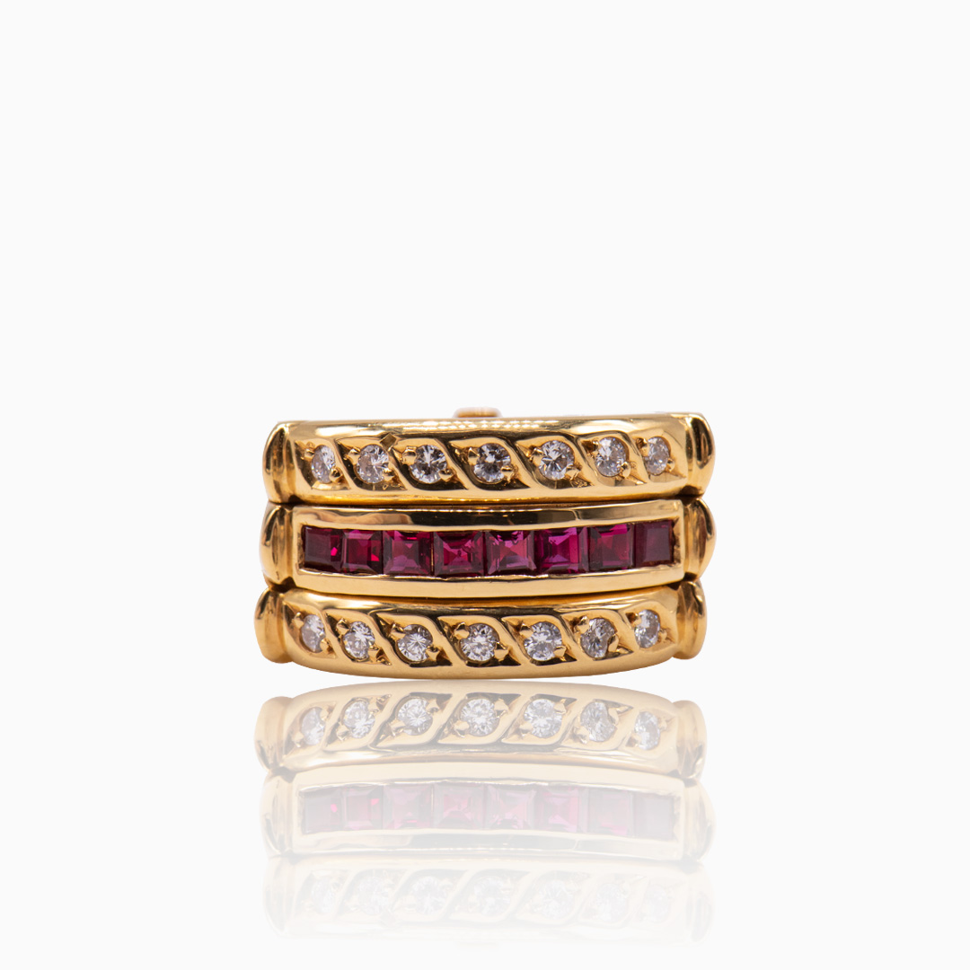 Anillo Triple de Oro Rubíes y Diamantes