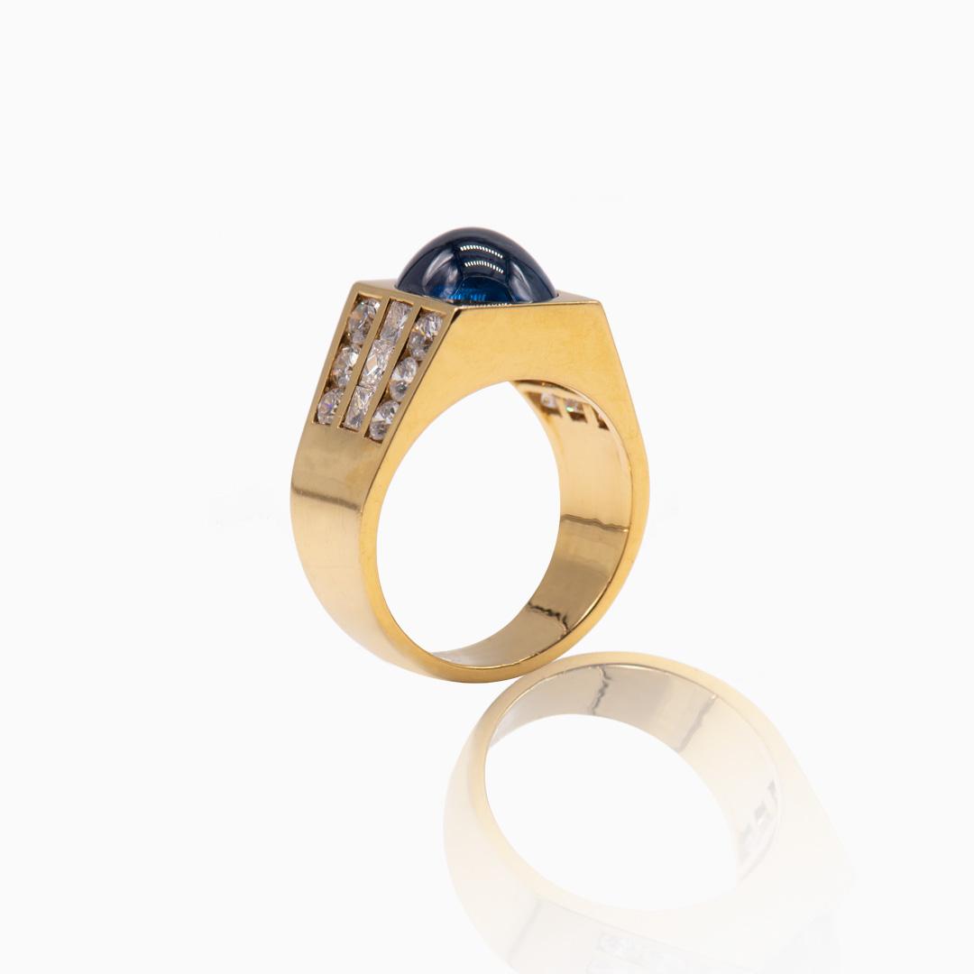 Anillo de Oro Zafiro y Diamantes