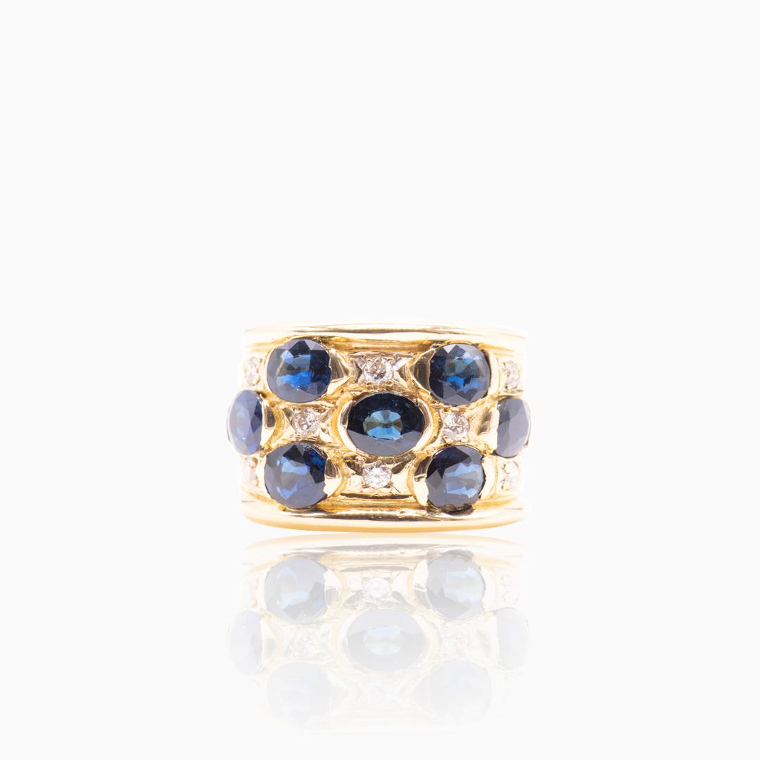 Anillo de Oro Zafiros y Diamantes