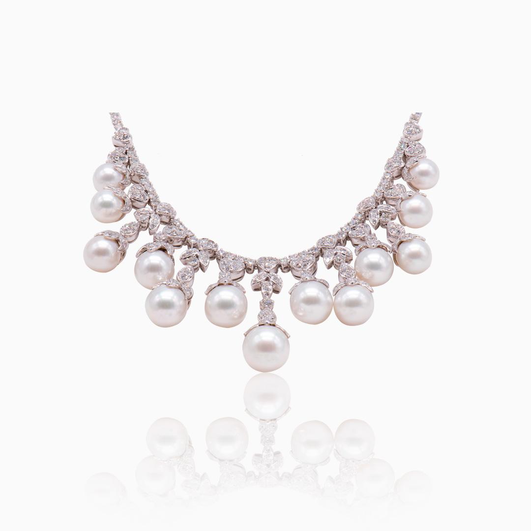 Gargantilla Oro Blanco con Diamantes y Perlas Australianas