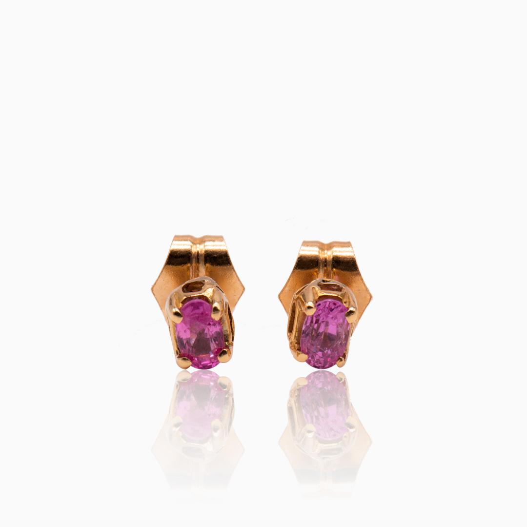 Pendientes de Oro con Zafiros Rosa