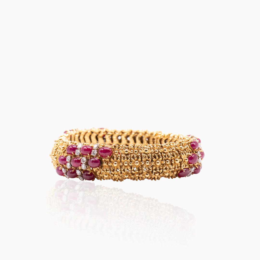 Pulsera de Oro Rubíes y Diamantes