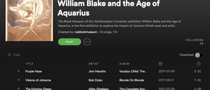 """Tune in"" to the sounds of ""William Blake and the Age of Aquarius"" with our exhibition playlist"