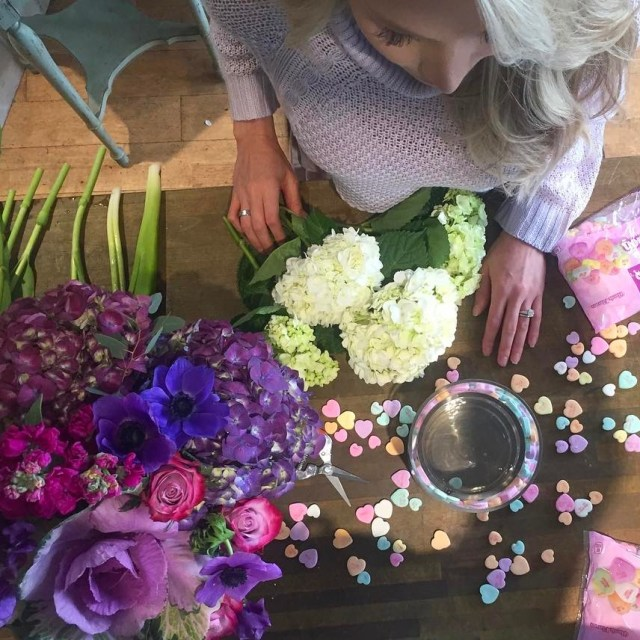 Making hydrangea florals in a conversation hearts vase! Click linkhellip