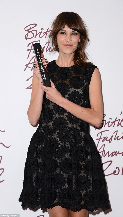 Alexa Chung British Style Award black lace dress Nails Inc Bling it on leather