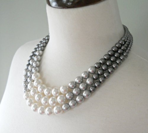 shop first date gray-pearl-necklace Color Block Triple Decker Necklace in Gray Ombre
