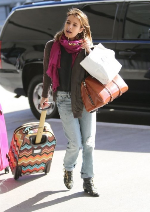 emma-roberts-paperdenimcloth EZE skinny slouch jeans susanna chloe studded boots missoni for target celeb luggage