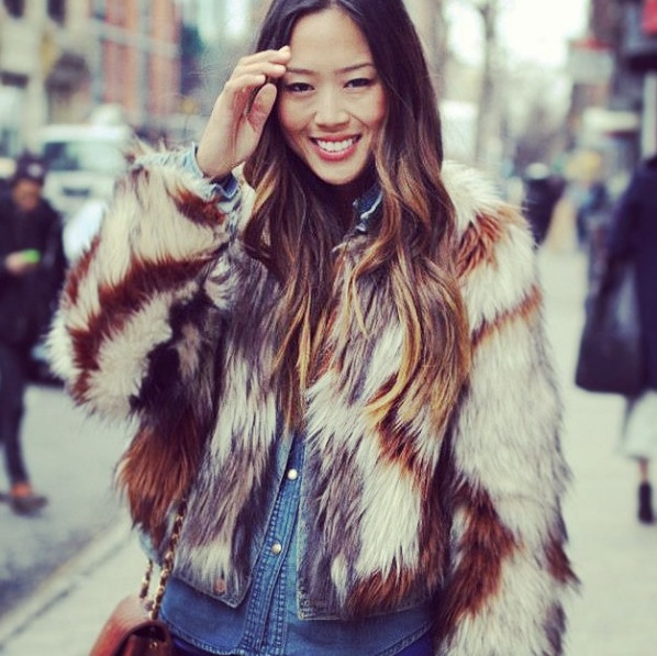 Aimee Song of style twelfth street cynthia vincent brown white faux fur jacket new york fashion week